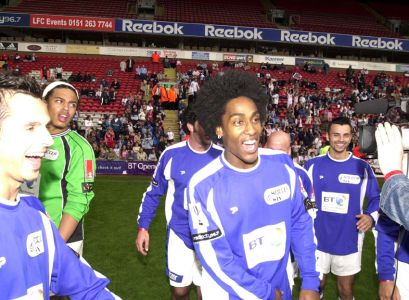 Simon Webbe And The Rest Of Blue Celebrating The Win At Anfield